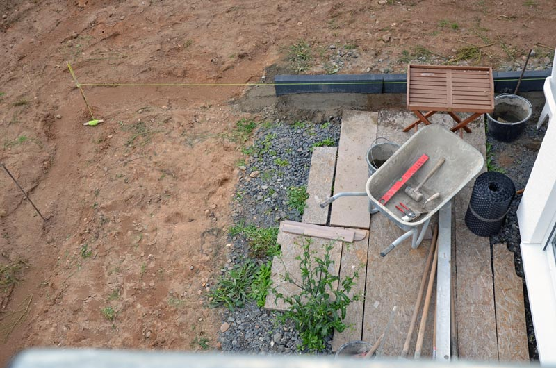Terrasse nach erstem Arbeitstag