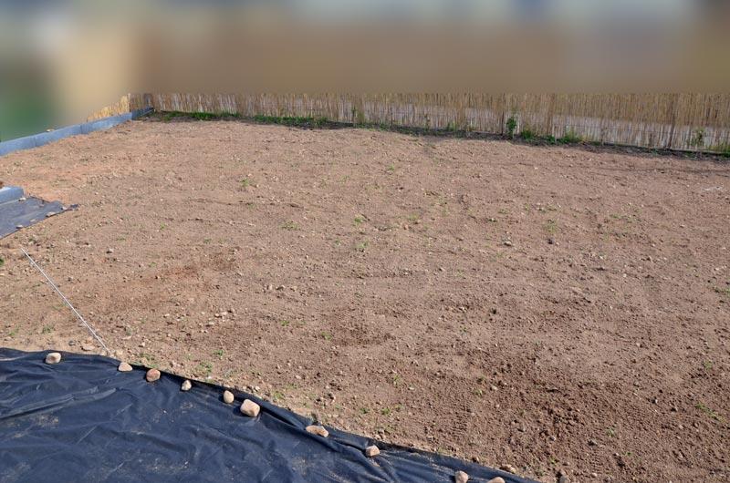 Garten nach dem Jäten mit Unkrautvlies-Wegen