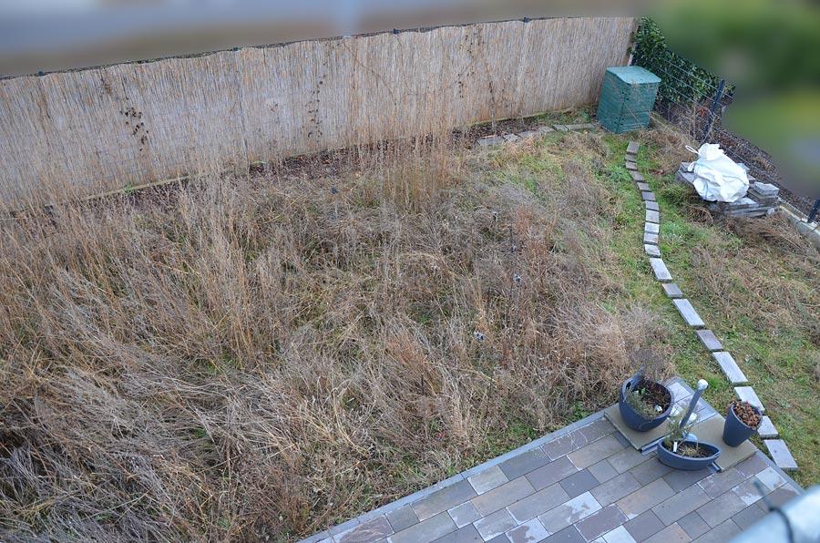 Garten mit Wildwuchs mit Terrassenecke vorm Umgraben