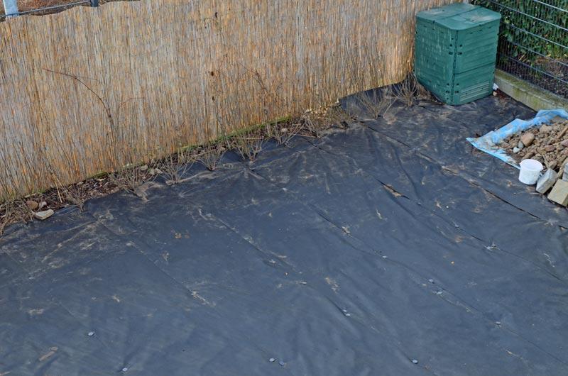 Ligusterheckenende mit Komposter und Teil des riesigen Steinhaufens